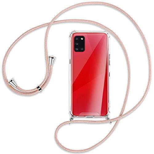 mtb more energy Collar Smartphone para Samsung Galaxy A31 (SM-A315, 6.4'') - Oro Rosa - Funda Protectora ponible - Carcasa Anti Shock con Cuerda Correa