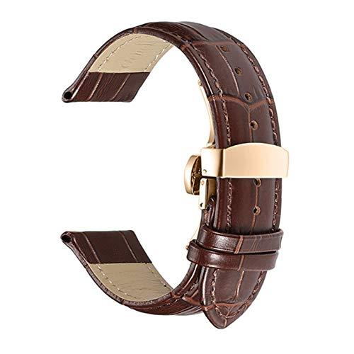 LWHAMA Lwwhama Banda de Reloj de Cuero Genuino de Flyuzi 12-24mm Reloj Universal Pin Hebilla Banda de Hebilla de Acero Pulsera de la Correa de la muñeca con la Herramienta