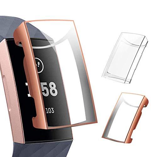 CAVN Pellicola Protettiva Compatibile con Fitbit Charge 3 /Charge 4 Custodia Protettiva (2-Pezzi), TPU Ultra Sottile Protezione Completa Antiurto Custodia Protettiva Protettiva per Charge 3 /Charge 4