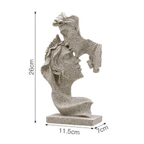 Figurine creative dell'amante, Coppia astratta Sculture d'arte Ornamenti romantici in resina Statue Desktop Home Decor Artigianato fatto a mano Regali per anniversario Matrimonio Arenaria Colore 11x