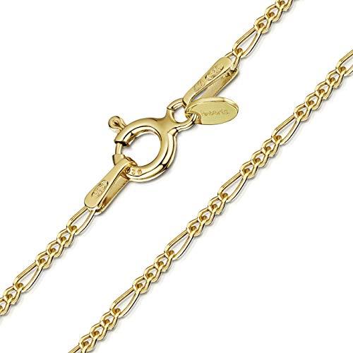 Amberta® Joyería - Collar - Fina Plata De Ley 925-18K Chapado en Oro - Cadena de Fígaro - 1.5 mm - 40 45 50 55 60 cm (50cm)