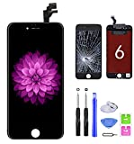FFtopu iPhone 6 Screen Replacement Black, LCD Display & Touch Screen Digitizer Frame Assembly Set with Repair Tools for A1549, A1586, A1589 (4.7 inch)