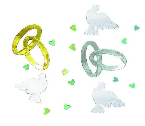 Tib 15108 Confettis décoratifs en forme de colombes/cœurs Doré/argenté/blanc/iris, Taille unique