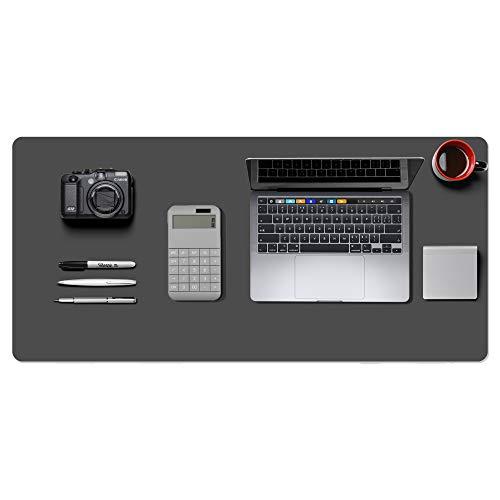 Alfombrilla de escritorio, alfombrilla de ratón, protector de escritorio, papel secante de cuero de PU antideslizante para juegos de oficina/hogar(92cmx44cm,gris)