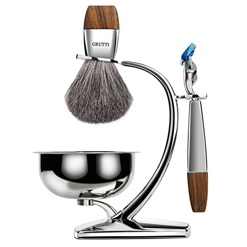 of shave brushes dec 2021 theres one clear winner GRUTTI Premium Shaving Brush Set with Luxury Badger Brush Stand and Brush holder for Soap Bowl and Manual Razor Compatible with Fusion 5, Best Gift for Men- Blue & Wooden