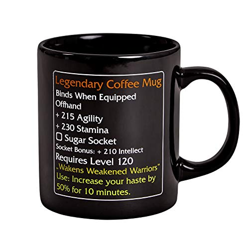Elbenwald Tasse Legendary Coffee Mug Level 120 MMO Item für World of Warcraft Fans 320ml Keramik schwarz