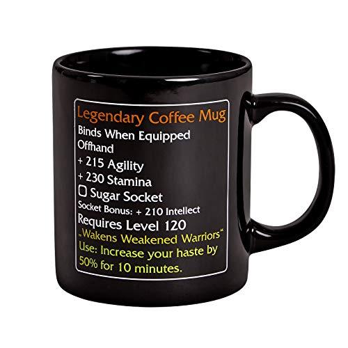 Elbenwald Tasse Legendary Coffee Mug Level 120 MMO Item für World of Warcraft Fans 320ml Keramik schwarz
