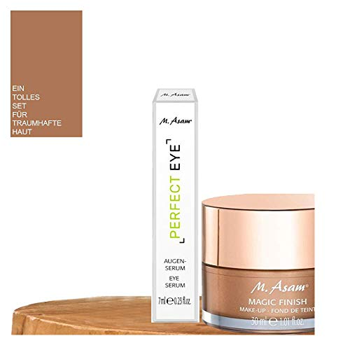 3tlg. Set: 1x30ml M. Asam Magic Finish 4in1 Make Up Mousse Primer Concealer + 1x7ml M. Asam PERFECT EYE Augenserum + Kosmetik-Haarband aus Frottee in Weiß