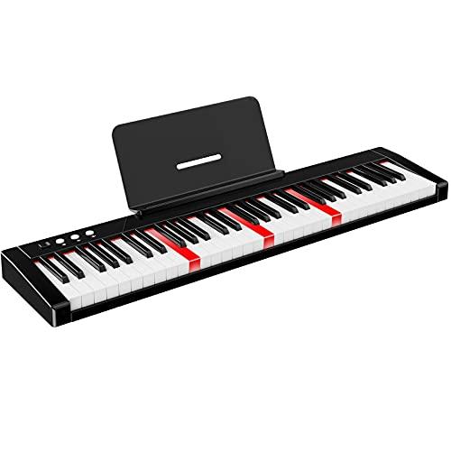 TERENCE Pianos digitales portátil con 61 teclas semi-ponderadas y batería de 1800mAh Teclado iluminado interfaz MIDI USB con Bluetooth soporte para partituras bolsa adhesiva cable de audio auriculares