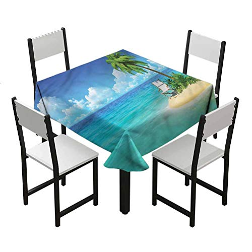 Flyerer Coastal Anti-WrinkletableclothStain Resistant and Spillproof Suitable for banquets, Parties Small Island Chair and Palm Best Gifts Teens W65 xL65