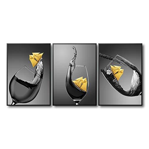 Copa de vino con bote pequeño Impresión en lienzo Pintura Comedor y cocina Decoración moderna del hogar Arte de la pared Imágenes de flores 40X60cm-3pcs Sin marco