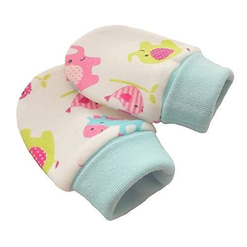 Coton bio tricot tissu nouveau-né anti-rayures moufles mitaines gants bébé, éléphants multicolores, manchette tricotée couleur turquoise (3-6 mois)