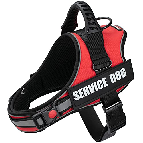 Kindacoool Service Dog Vest, Adjustable No-Pull Service Dog Harness with 2X Locking Buckles, Reflective Comfortable Padded Dog Vest with 2pcs Removeable Tags for Small Medium Large Dogs(Red, XL)
