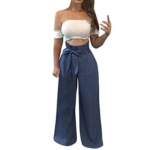 CCatyam Plus Size Wide Leg Pants for Women, Yoga Trousers Bandage Sexy Loose Casual Fashion Navy
