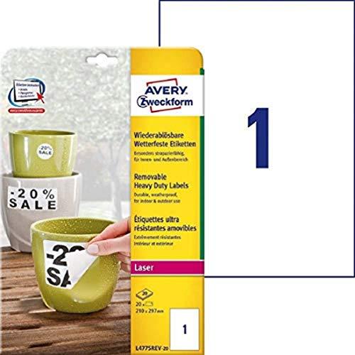 AVERY Zweckform L4775REV-20 Wetterfeste Folien-Etiketten, wiederablösbar (210x297 mm auf DIN A4, selbstklebend, bedruckbare Outdoor Klebefolie) 20 Aufkleber auf 20 Blatt weiß