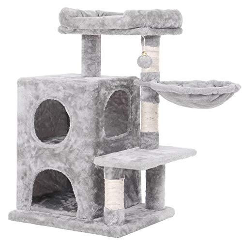 BEWISHOME Cat Tree Condo with Sisal Scratching Posts, Plush Perch, Dual Houses and Basket, Cat Tower...
