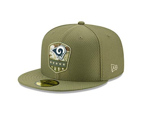 New Era - NFL Los Angeles Rams On Field 2019 Salute to Service 59Fifty Fitted Cap - Olivgrün Farbe Olivgrün, Größe 7 1/8 (56,8cm)