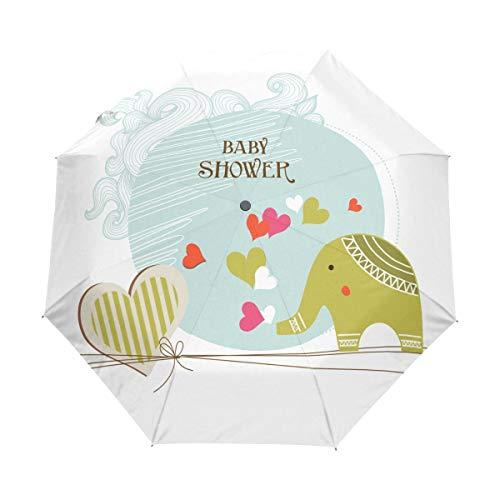 Elefant Baby DUSCHE Anime Auto Öffnen und Schließen Reiseschirm Winddicht Wasserdicht Kompakt Mehr Safer Faltschirm