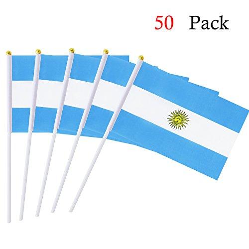 Naisidier Argentine bâton Drapeau 14 x 21,1 cm Petite Hand Held Drapeau du Lot de 50 mini Drapeau Argentine