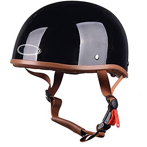 DLPAC Casco Moto Abierto Medio Dot Certified Open Face Helmet Men and Women Road Riding Beanie Motorcycle Helmet Cruiser Bike Retro Half Shell Helmet