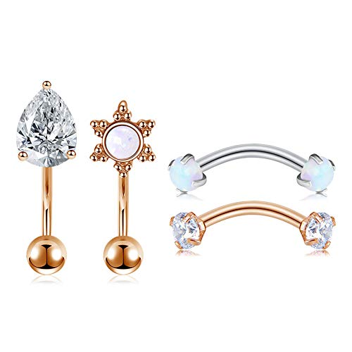 QWALIT 16G Daith Snug Rook Earrings Piercing Jewelry Surgical Steel Anti Tragus Forward Helix Piercings Opal CZ Eyebrow Curved Barbell Bar 6mm 8mm for Women Silver Rose Gold