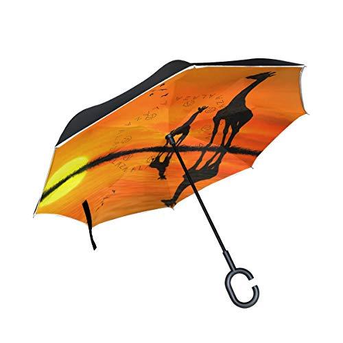 MNSRUU Inverted Regenschirm, Silhouetten von Giraffen, Auto-Rückwärtsschirm, Regenschirm mit UV-Schutz, umgedreht