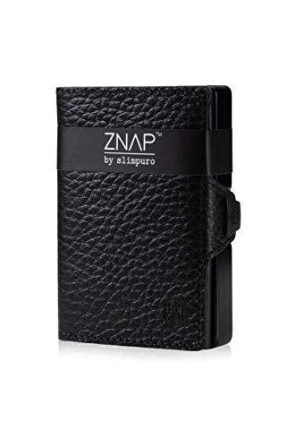 ZNAP Tarjetero RFID Metálico con Compartimento para Monedas – Mini Cartera con Monedero de Aluminio – Tarjetero Billetero Minimalista para 12 Tarjetas – Monedero Hombre (Grano Negro, 12 Tarjetas)