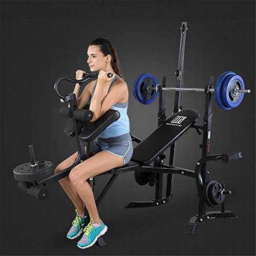 Adjustable Weight-Lifting Bed,Large Weight Benche Set,Weight-Lifting Machine Fitness Equipment,Multifunctiona Olympic Weight Benches,Strength Training Benches,for Home Office Gym (Black)