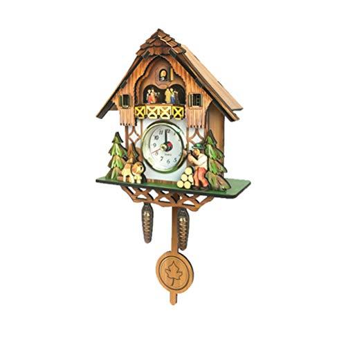 BESPORTBLE - Orologio a cucù tradizionale in legno di bosco, decorazione da parete, senza batteria