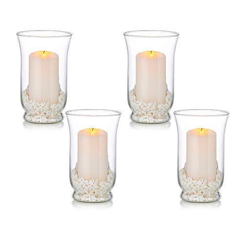 Glass Pillar Candle Holders for 3 x 6 Inches Candle, 4 Pcs Hurricane Candle Holder, Wedding Centerpieces for Reception Tables for Home Dining Room Decor