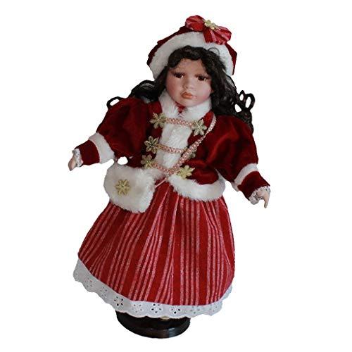 Bambole in Porcellana Stile Vintage da 40 Cm in Cappello di Natale con Espositore, Ornamento per Ufficio A Casa, Regali da Collezione
