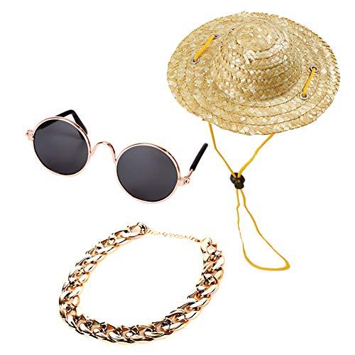 Gychee Mode Haustier Hund Katze Retro Strohhut Sommer Haustier Kostüm Cap Fancy Ornament (Sonnenbrille, Retro Strohhut, Hund Gold Halskette) für lustige Haustier kostüm-Foto-Requisiten