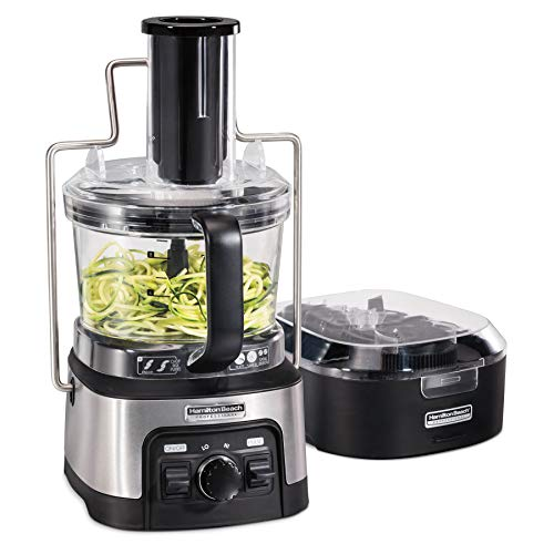 """Hamilton Beach Professional Stack & Snap Spiralizing Food Processor for Slicing, Shredding and Kneading, 3"""" Round Feed Chute, 12 Cups, Stainless Steel"""