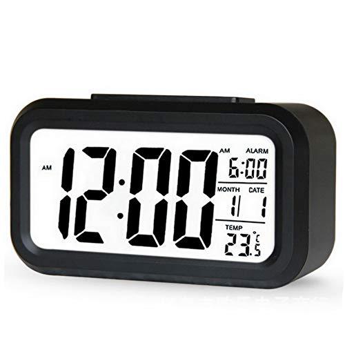 LYLY Reloj despertador digital LED con luz de fondo y función de repetición, calendario, escritorio electrónico, reloj de mesa, fácil de ajustar (color negro)