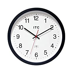 Infinity Instruments Time Keeper Reliable Wall Clock 14 inch Automatic Self-Adjusting Wall Clock Plain Black Easy-to-Read Atomic Clock Radio Controlled Analog Clock