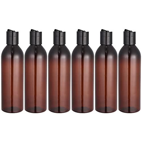 JSJJAOL Kosmetikbehälterflasche 6 stücke 250ml Pressetyp Deckel Reiseflaschen Tragbare Kosmetikbehälter Leere Flasche für Shampoo Lotion (Transparente Flasche und Deckel (Color : White)