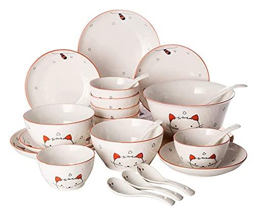 . Conjunto de Platos, Platos de cerámica doméstica, vajilla Creativa Personalizada a Mano. LingGe