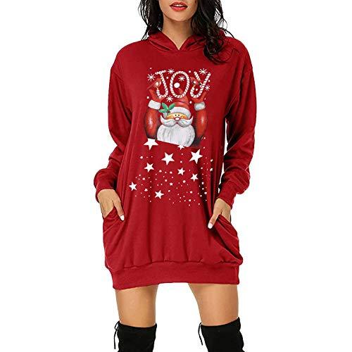 Binggong Damen Weihnachten Pulloverkleid Reindeer Druck Langarmshirt Vintage Weihnachtspullover Sweater Funny Pulli Kapuzenpullover Winter Rundhals Oberteil