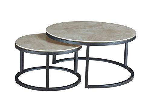 OXY - Mesa baja redonda nido de cerámica y base de metal, diseño moderno industrial