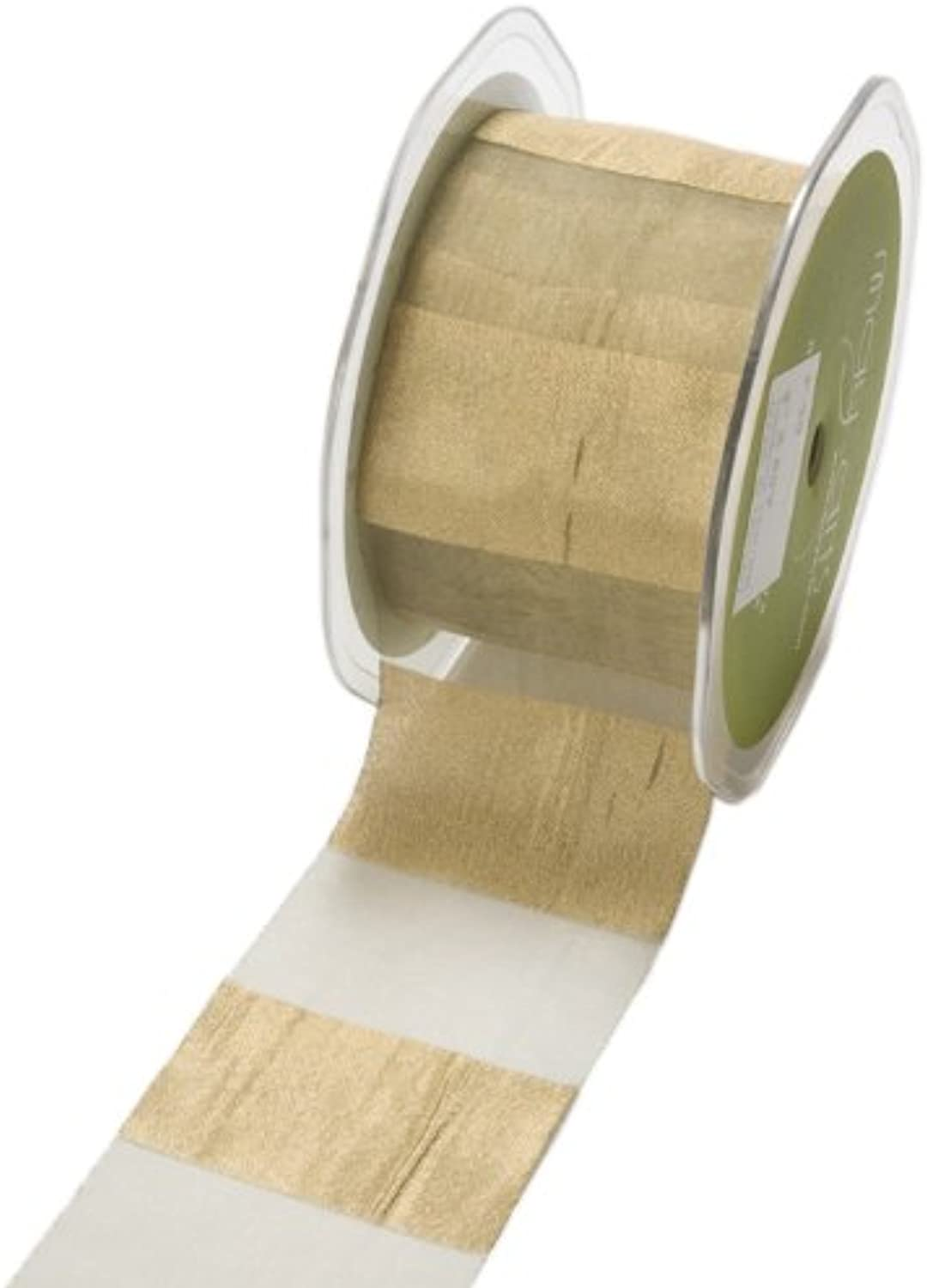 May Arts 2Inch Wide Ribbon gold Silver Stripes