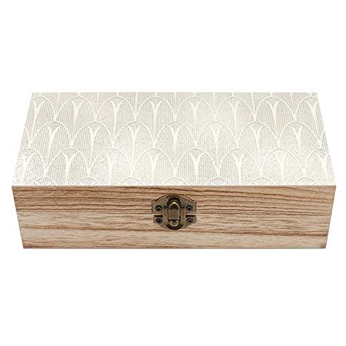 Art Deco - Caja de madera decorativa para tesoros (delicada, cremosa, color marfil), color beige y beige