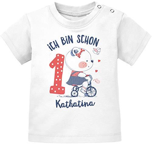 SpecialMe® personalisiertes Baby T-Shirt mit Namen und Zahl zum 1. Geburtstag Kleiner Bär Geschenk Mädchen weiß 92/98 (16-24-Monate)