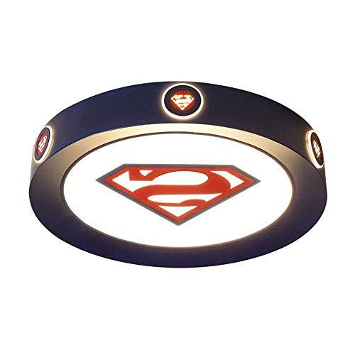 MKKM Luz de Techo, Techo de la Sala Infantil S Lámparas Led Niños S Luces Moderno Dormitorio Luz de Techo Decorativo Superman Iluminación Regulable de Dibujos Animados con Protección para Los Ojos de