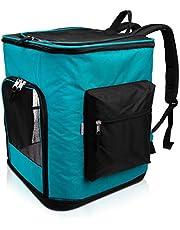 Navaris Rugzak voor hond kat gewatteerd - hondenrugzak kattenrugzak met buikriem - 40x33x40cm huisdier backpack opvouwbaar - draagvermogen tot 12kg
