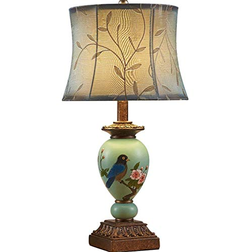 N/Z Equipo Diario Lámpara de Escritorio de pájaro Europea Pintada a Mano Lámpara de Noche para Dormitorio Lámpara de Mesa de Lujo de jardín Retro Creativo (Color: Verde)
