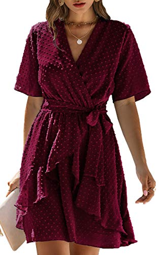 ECOWISH Women V Neck Short Sleeve Polka Dot Floral Pattern A-Line Tie Belt Short Dress with Ruffle Irregular Hem Wine Red Medium