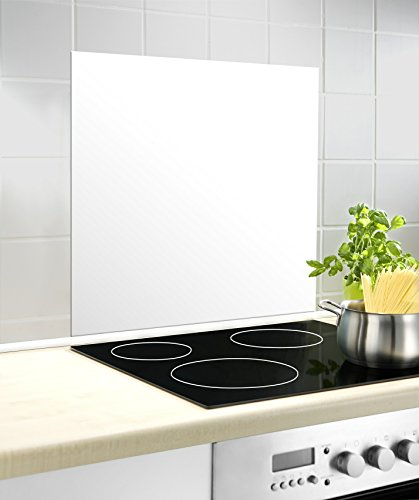 WENKO Fond de hotte, Crédence Cuisine, Blanc, Protection anti-éclaboussures, Verre trempé, 60 x 70 cm