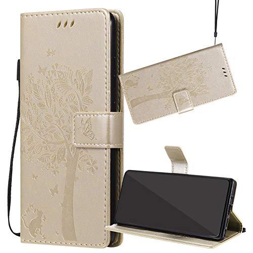Yiizy Handyhüllen für ZTE Blade L110 (A110), Lederhülle Brieftasche Schutz Hülle TPU Silikon Innenschale Klapp Cover mit Media Kickstand und Kartensteckplätze Design (Gold)