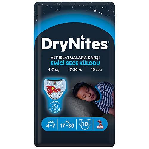 Huggies DryNites Boy - Pigiama ad alta assorbenza, per bambini 4-7 anni, confezione da 10