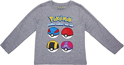 Pokemon Pikachu Kinder-T-Shirt mit langen Ärmeln Gr. 12 Jahre, Pokeball grau
